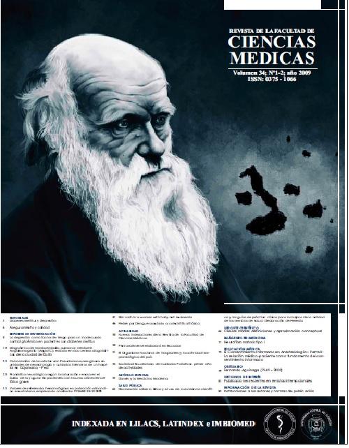 Ver Vol. 34 Núm. 1-2 (2009): Revista de la Facultad de Ciencias Médicas (Quito)